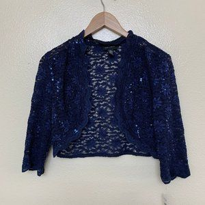 R&M Richards Formal Cropped Jacket Lace Sequined